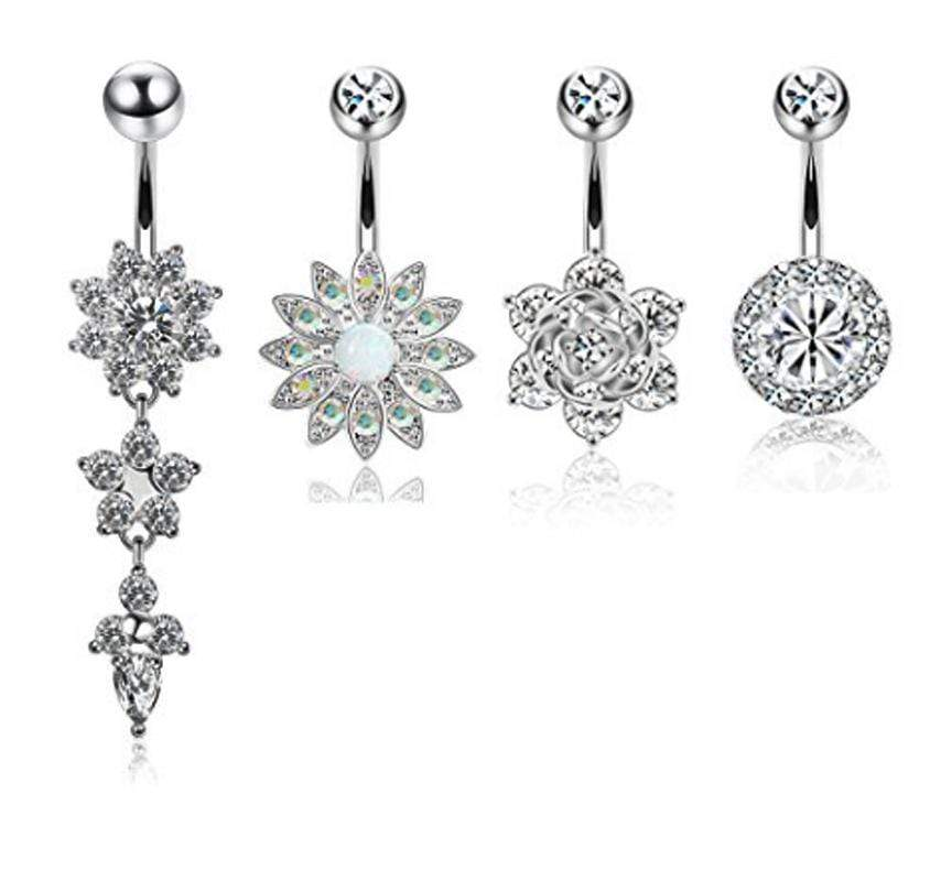 4pcs Stainless Steel Belly Button Rings For Women Girls Navel Rings Cz Body Piercing