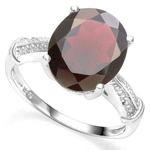 5.16 CT GARNET & DIAMOND 925 STERLING SILVER COCKTAIL RING - Wholesalekings.com