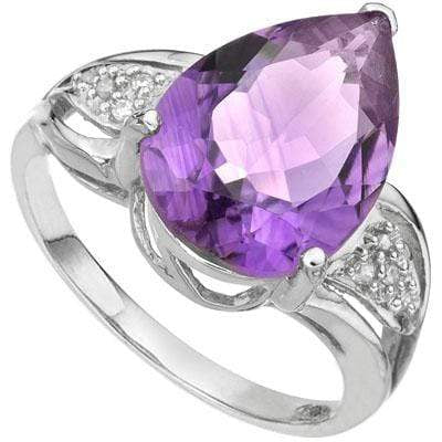 5.50 CT AMETHYST & DIAMOND 925 STERLING SILVER RING - Wholesalekings.com