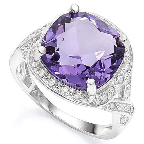 5.50 CT CREATED AMETHYST & 2PCS CREATED WHITE SAPPHIRE 925 STERLING SILVER RING - Wholesalekings.com