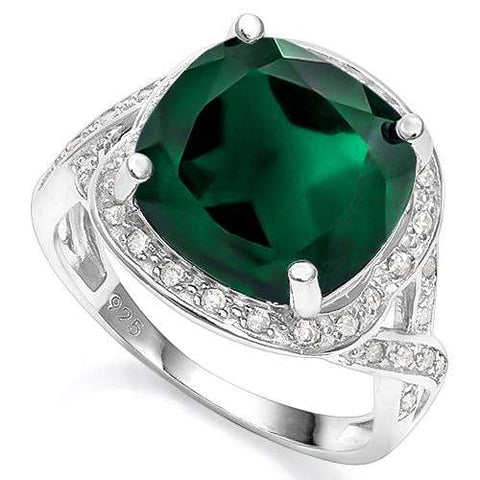 5.50 CT CREATED EMERALD & 2PCS CREATED WHITE SAPPHIRE 925 STERLING SILVER RING - Wholesalekings.com