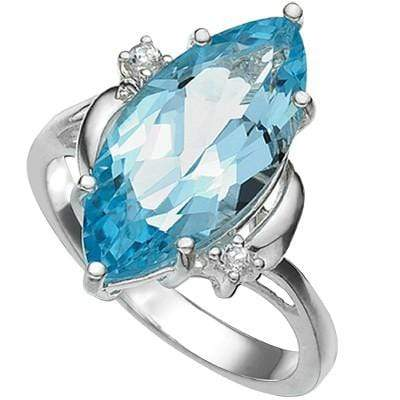 5.94 CARAT MARQUISE  BLUE TOPAZ & GENUINE DIAMOND PLATINUM OVER 0.925 STERLING SILVER RING - Wholesalekings.com