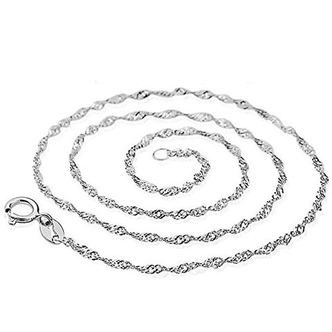 925 Sterling Silver Water Wave Chain Necklace - 16 INCH