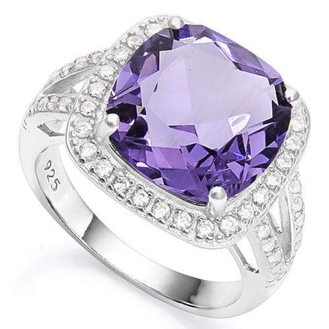 6 2/5 CARAT CREATED AMETHYST & 1/2 CARAT CREATED WHITE SAPPHIRE 925 STERLING SILVER RING wholesalekings wholesale silver jewelry