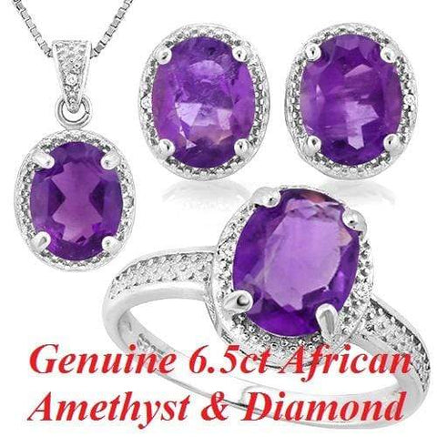 7 CARAT AMETHYST & DIAMOND 925 STERLING SILVER SET - Wholesalekings.com
