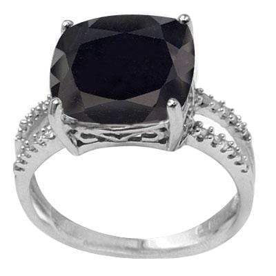 8.31 CARAT TW (3 PCS) GENUINE BLACK SAPPHIRE & GENUINE DIAMOND PLATINUM OVER 0.925 STERLING SILVER RING - Wholesalekings.com