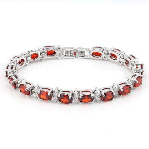 8 CARAT ( 13 PCS ) CREATED GARNETS &  1 1/2 CARAT (26 PCS) CREATED WHITE TOPAZS  BRACELET ( Length: 7-7.5inches) wholesalekings wholesale silver jewelry