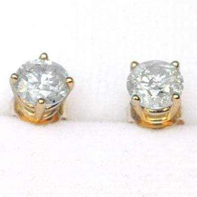 80 POINTS DIAMOND  STUD  EARRINGS IN10K SOLID YELLOW GOLD - CLARITY I1-I2 - Wholesalekings.com