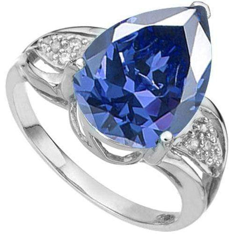9.54 CT LAB TANZANITE & DIAMOND 925 STERLING SILVER RING - Wholesalekings.com