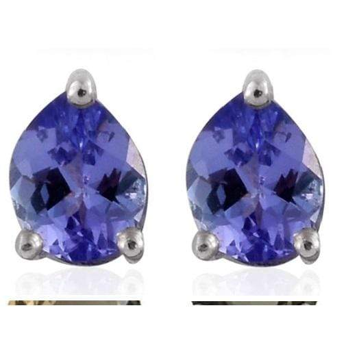 0.92 Ct Round Blue Tanzanite 925 Sterling Silver Earrings