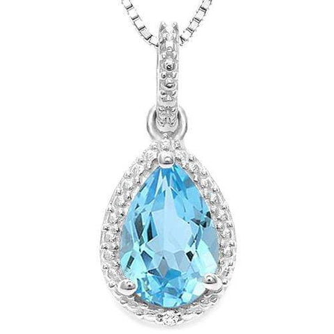 925 STERLING SILVER 0.71 CT BLUE TOPAZ & DIAMOND PENDANT wholesalekings wholesale silver jewelry