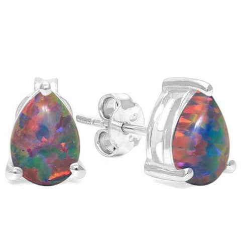 925 Sterling Silver 0.75CT Pear Shape 5*7 Syn. Black Opal  Stud Earrings wholesalekings wholesale silver jewelry