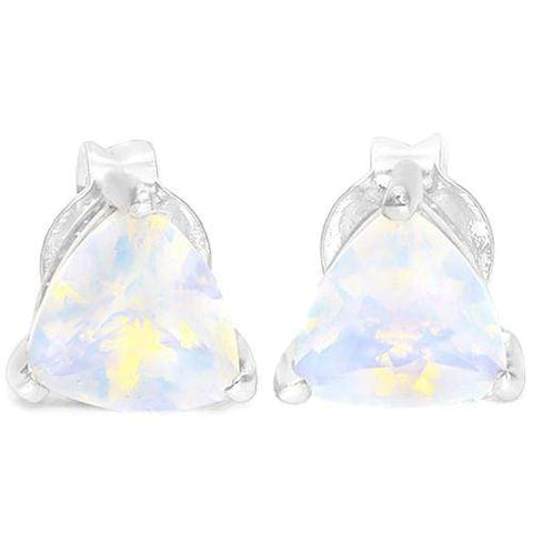 925 Sterling Silver 0.75CT Trillion  5MM Lab Opal  Stud Earrings - Wholesalekings.com