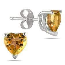 925 Sterling Silver 0.76CT Heart Shape 5MM Citrine Stud Earrings wholesalekings wholesale silver jewelry