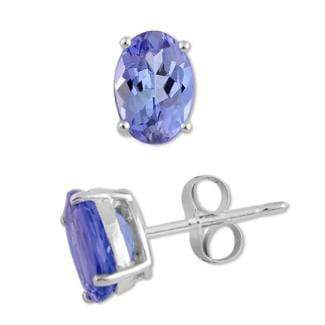 925 Sterling Silver 0.77CT Oval 4*6 Tanzanite Stud Earrings wholesalekings wholesale silver jewelry