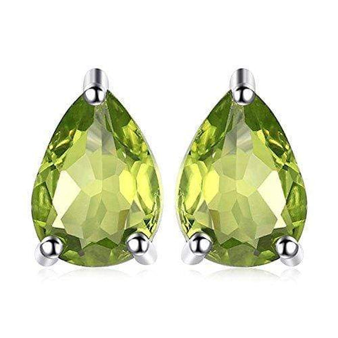 925 Sterling Silver 0.79CT Pear Shape 4*6 Peridot  Stud Earrings - Wholesalekings.com