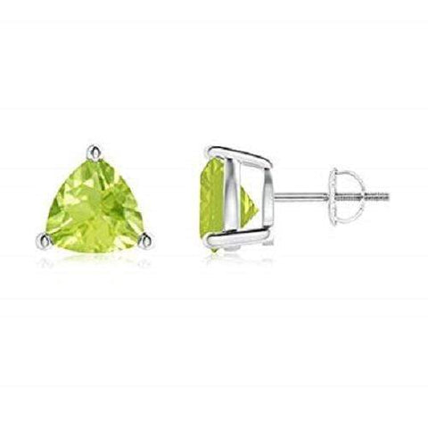925 Sterling Silver 0.79CT Trillion  5MM Peridot  Stud Earrings wholesalekings wholesale silver jewelry