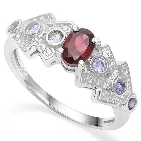925 STERLING SILVER 0.82 CT GARNET & TANZANITE COCKTAIL RING - Wholesalekings.com