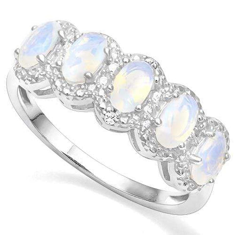 925 STERLING SILVER 0.83 CT CREATED  ETHIOPIAN OPAL & DIAMOND COCKTAIL RING wholesalekings wholesale silver jewelry