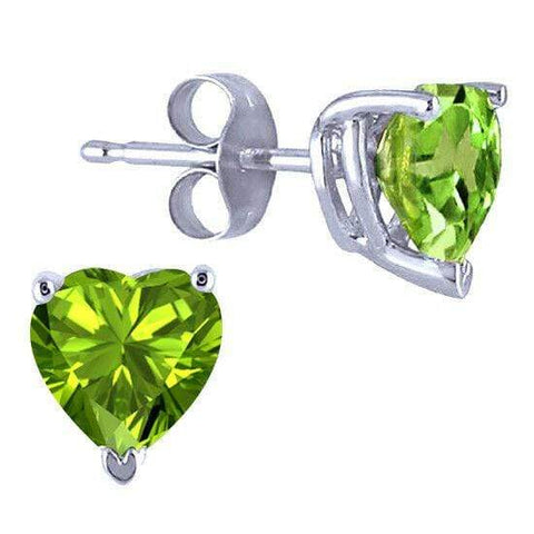 925 Sterling Silver 0.8CT Heart Shape 5MM Peridot  Stud Earrings wholesalekings wholesale silver jewelry
