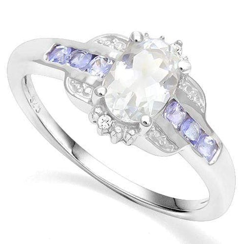 925 STERLING SILVER 0.91 CT AQUAMARINE & TANZANITE COCKTAIL RING wholesalekings wholesale silver jewelry