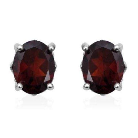 925 Sterling Silver 0.92CT Oval 4*6 Garnet Stud Earrings wholesalekings wholesale silver jewelry