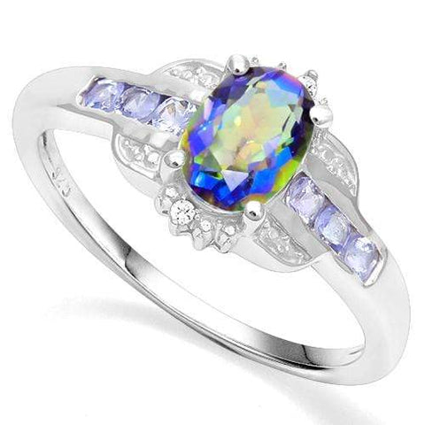 925 STERLING SILVER 0.94 CT OCEAN MYSTIC GEMSTONE & TANZANITE COCKTAIL RING - Wholesalekings.com