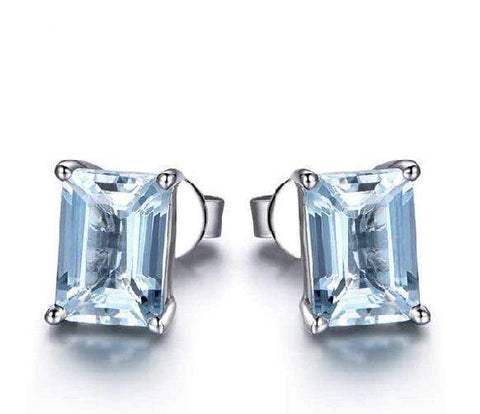 925 Sterling Silver 0.94CT Octagon 4*6 Aquamarine Stud Earrings wholesalekings wholesale silver jewelry