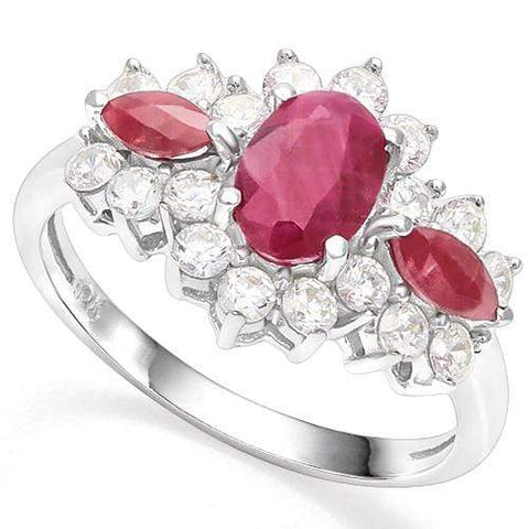 925 STERLING SILVER 0.98 CT RUBY & DIAMOND COCKTAIL RING - Wholesalekings.com