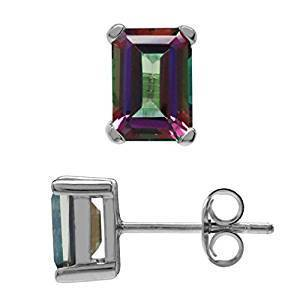 925 Sterling Silver 0.98CT Octagon 4*6 Mystic Gemstone Stud Earrings wholesalekings wholesale silver jewelry