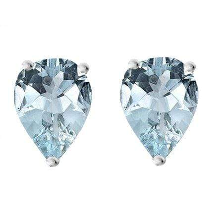 925 Sterling Silver 0.98CT Pear Shape 5*7 Aquamarine Stud Earrings wholesalekings wholesale silver jewelry
