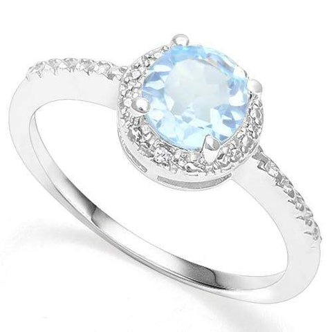 925 STERLING SILVER 1.01 CT BABY SWISS BLUE TOPAZ & DIAMOND COCKTAIL RING wholesalekings wholesale silver jewelry