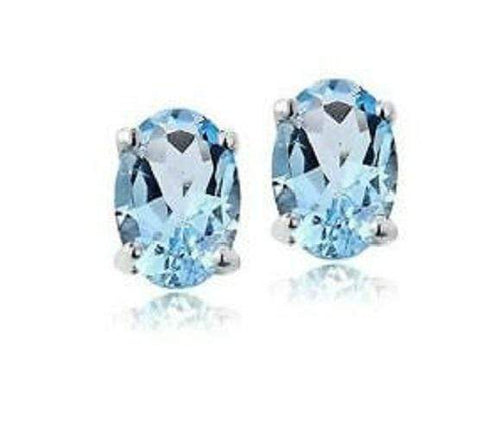 925 Sterling Silver 1.02CT Oval 4*6 Blue Topaz Stud Earrings wholesalekings wholesale silver jewelry