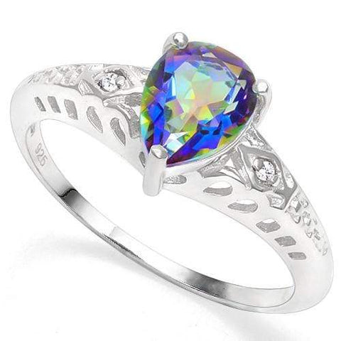 925 STERLING SILVER 1.05 CT OCEAN MYSTIC GEMSTONE & DIAMOND COCKTAIL RING - Wholesalekings.com