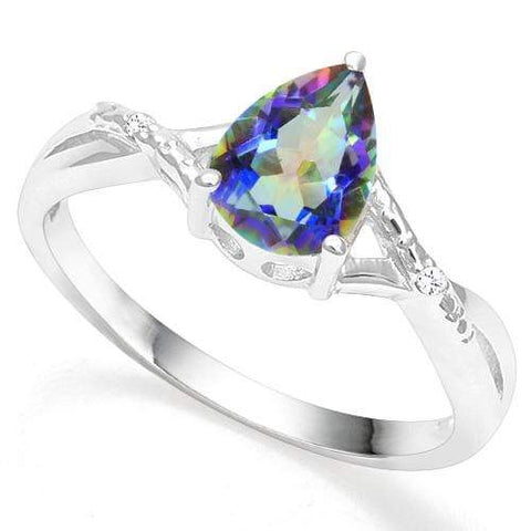 925 STERLING SILVER 1.05CT FANCY OCEAN MYSTIC GEMSTONE & DIAMOND COCKTAIL RING wholesalekings wholesale silver jewelry