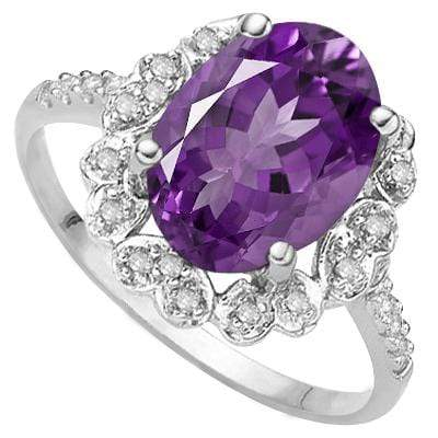 925 STERLING SILVER 1.10 CT AMETHYST & DIAMOND COCKTAIL RING - Wholesalekings.com