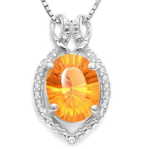 925 STERLING SILVER 1.11 CT AZOTIC MYSTIC GEMSTONE & DIAMOND PENDANT wholesalekings wholesale silver jewelry