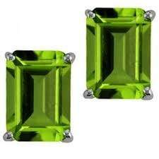 925 Sterling Silver 1.14CT Octagon 4*6 Peridot  Stud Earrings