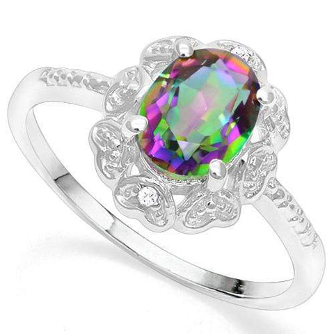 925 STERLING SILVER 1.16 CT MYSTIC GEMSTONE & DIAMOND COCKTAIL RING - Wholesalekings.com