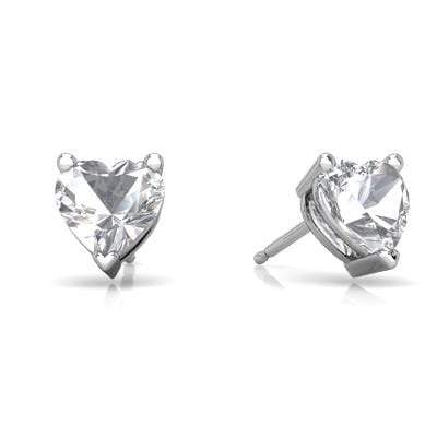 925 Sterling Silver 1.16CT Heart Shape 5MM White Topaz Stud Earrings - Wholesalekings.com