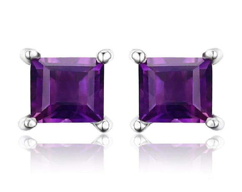 925 Sterling Silver 1.18CT Square  5MM Amethyst Stud Earrings wholesalekings wholesale silver jewelry