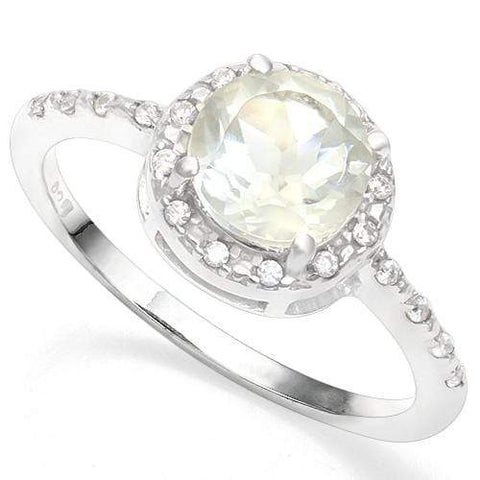 925 STERLING SILVER 1.19CT GREEN AMETHYST & DIAMOND COCKTAIL RING wholesalekings wholesale silver jewelry
