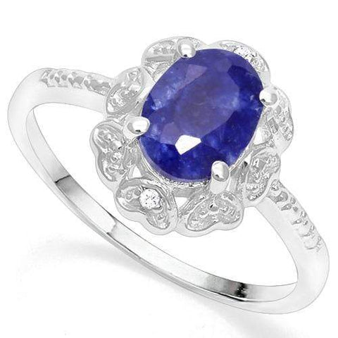 925 STERLING SILVER 1.20 CT ENHANCED GENUINE SAPPHIRE & DIAMOND COCKTAIL RING - Wholesalekings.com