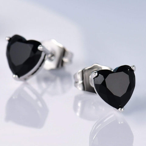 925 Sterling Silver 1.22CT Heart Shape 5MM Black Sapphire Stud Earrings wholesalekings wholesale silver jewelry