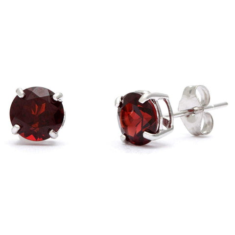 925 Sterling Silver 1.25CT Round 5MM Garnet Stud Earrings - Wholesalekings.com