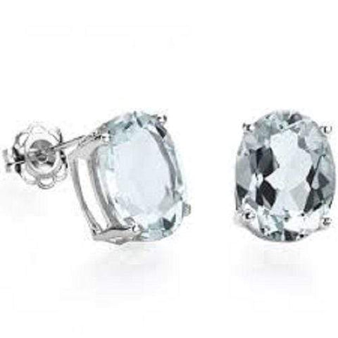 925 Sterling Silver 1.26CT Oval 5*7 Aquamarine Stud Earrings wholesalekings wholesale silver jewelry