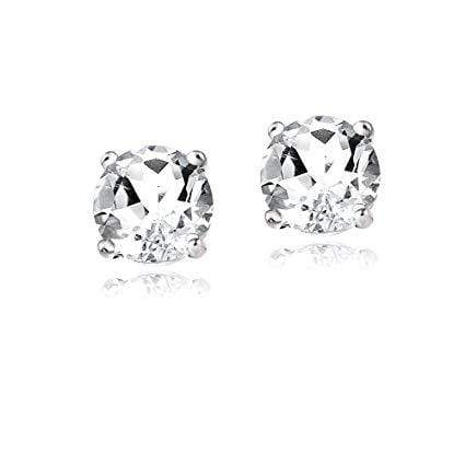 925 Sterling Silver 1.28CT Round 5MM White Topaz Stud Earrings wholesalekings wholesale silver jewelry