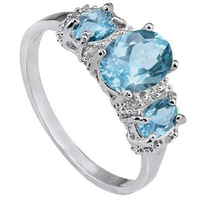 925 STERLING SILVER 1.31 CT BABY SWISS BLUE TOPAZ & DIAMOND COCKTAIL RING - Wholesalekings.com