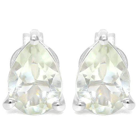 925 Sterling Silver 1.31CT Pear Shape 5*7 Green Amethyst Stud Earrings wholesalekings wholesale silver jewelry