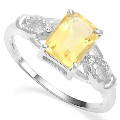 925 STERLING SILVER 1.44 CT CITRINE & DIAMOND COCKTAIL RING - Wholesalekings.com